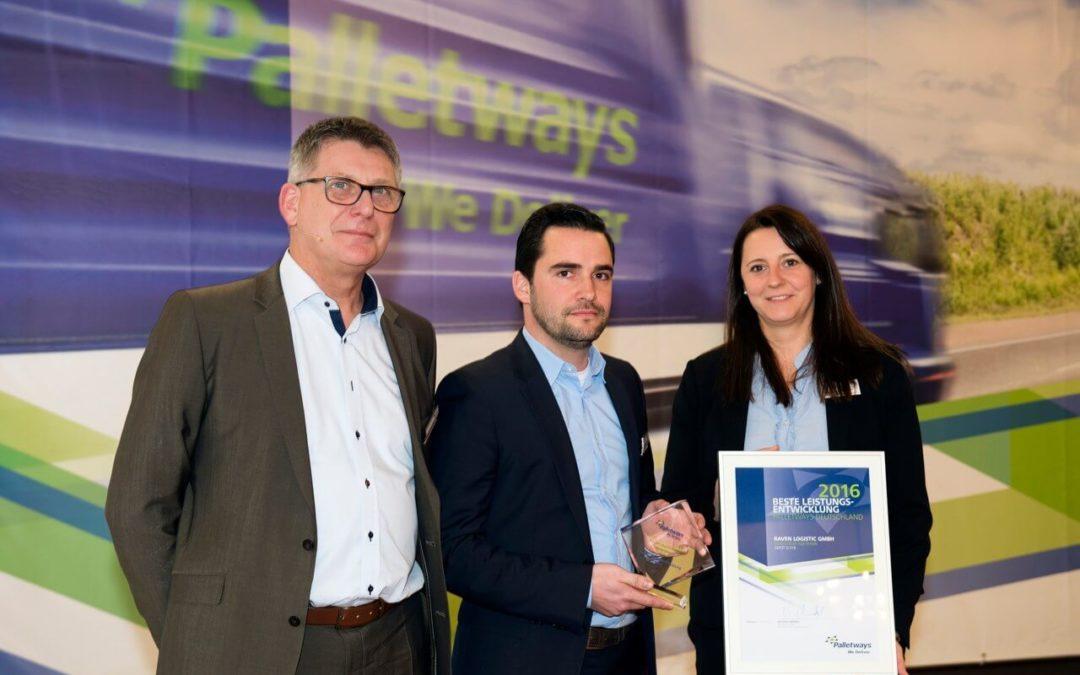 RAVEN Logistic: Beste Leistungsentwicklung 2016 im Palletways-Netzwerk