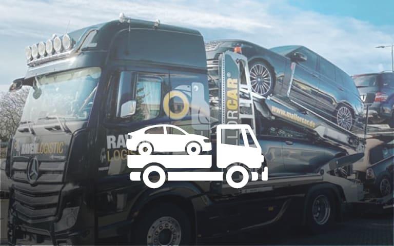 LKW mit Fahrzeugen geladen offen ohne Plane